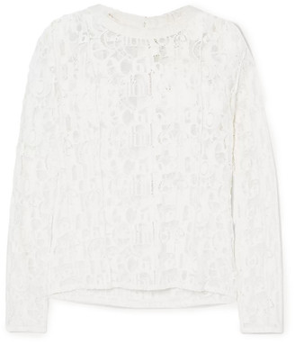 Chloé Poplin-trimmed Cotton-blend Lace Top