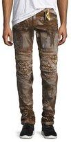 Robin's Jeans Distressed Metallic Moto Pants, Brown