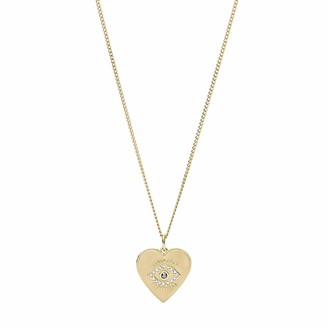 Fossil Women's Eye Pendant Gold-Tone Stainless Steel Necklace Gold Tone