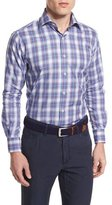 Peter Millar Plaid Long-Sleeve Sport Shirt, Blue