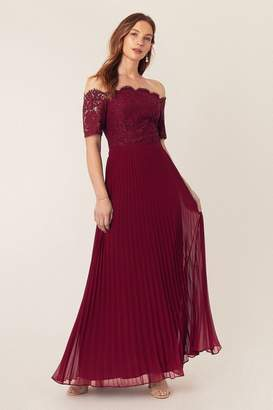 Oasis Womens Red Lace Bardot Maxi Dress - Red