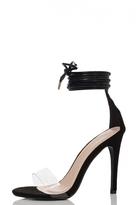 Quiz Black Faux Suede Lace Up Clear Band Sandals
