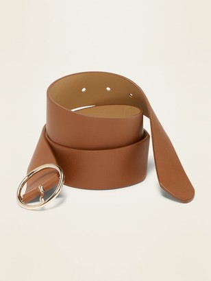 "Old Navy Wide Ring-Buckle Faux-Leather Belt for Women (1 1/2"")"