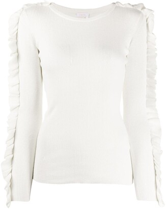 See by Chloe Ruffle-Trimmed Ribbed Jumper