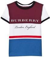 Burberry Burgundy and Blue Branded Tee