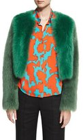 Diane von Furstenberg Long-Sleeve Cropped Fur Jacket