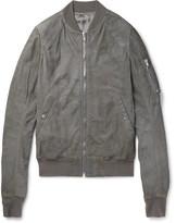 Rick Owens Flight Slim-Fit Blistered-Leather Bomber Jacket