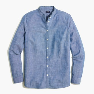 J.Crew Chambray button-front top with ruffled collar