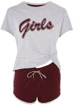 'girls' Slogan Pyjama Set