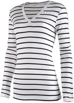 Top Legging TL Women's Long Sleeve Casual Slim fit Striped V-Neck and Round Neck T shirt WHITE_BLACK M