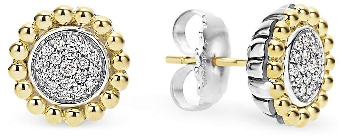Lagos Sterling Silver and 18K Gold Caviar Stud Earrings with Diamonds
