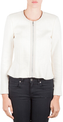 Rebecca Taylor Chalk White Double Face Cotton Jersey Zip Front Jacket M