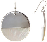 Simon Sebbag Sterling Silver Solid Dipped Mother of Pearl Circle Earrings