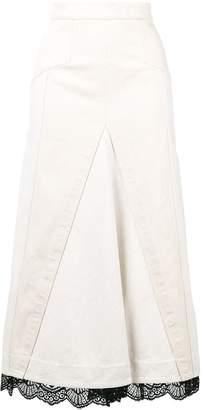 Alexander McQueen lace trim denim skirt