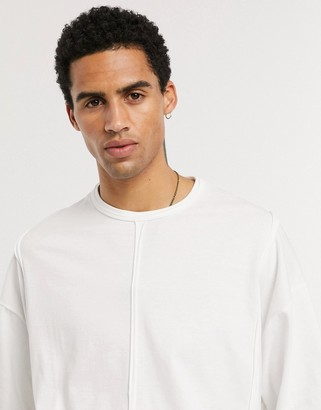 Asos DESIGN oversized t-shirt with seam detail in white