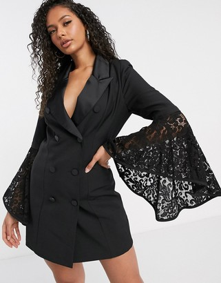 Aria Cove blazer dress with flared lace sleeve detail in black