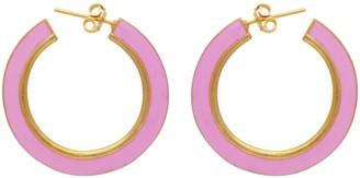 Carousel Jewels Gold & Pink Enamel Large Hoops