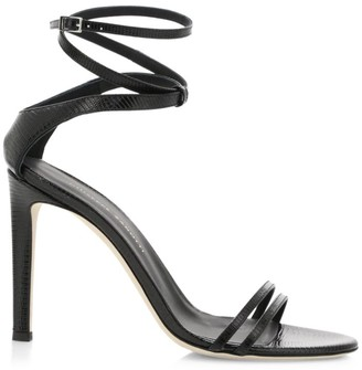 Giuseppe Zanotti Catia Ankle-Wrap Lizard-Embossed Leather Sandals