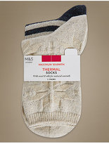 M&S Collection 2 Pair Pack Thermal Ankle High Socks