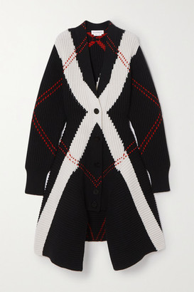 Alexander McQueen Asymmetric Argyle Ribbed Wool And Cashmere-blend Cardigan - Black