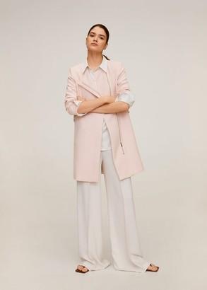 MANGO Zip straight-cut coat pastel pink - XS - Women