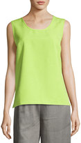 Caroline Rose Scoop-Neck Shantung Tank, Lime