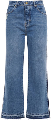 Victoria Victoria Beckham Distressed High-rise Wide-leg Jeans