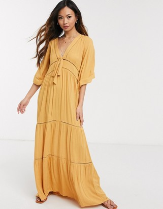 Asos DESIGN lace insert tie front maxi dress with kimono sleeve in mustard