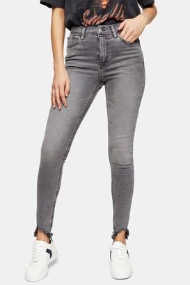 Topshop Womens Green Cast Jagged Hem Jamie Skinny Jeans - Grey