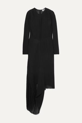 Preen by Thornton Bregazzi Ora Asymmetric Plisse-georgette Midi Dress - Black