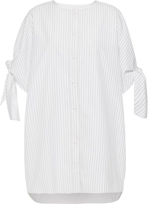 Victoria Victoria Beckham Knotted Striped Cotton-poplin Shirt