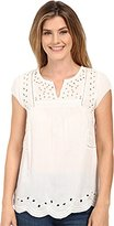 Lucky Brand Women's Cutout Embroidered Top