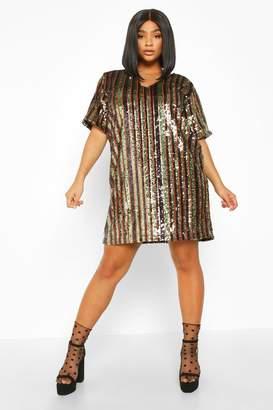boohoo Plus Sequin Stripe Shift Dress