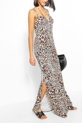 boohoo Leopard Print Strappy Tie Detail Maxi Dress