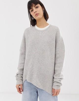 Weekday Fairy oversized jumper in wool blend-Beige