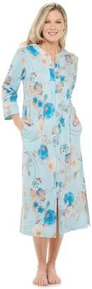 Miss Elaine Women's Essentials Interlock Knit Long Zipper Robe