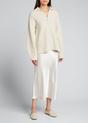 Theory Moving Ribbed Zip-Up Cashmere Sweater