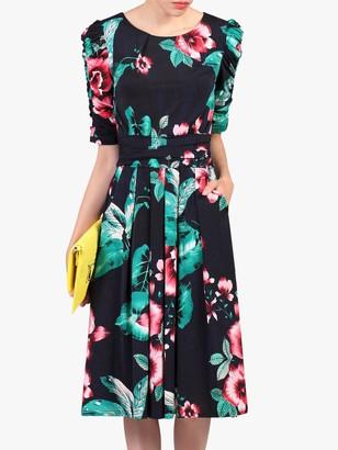 Jolie Moi Floral Half Sleeve Dress, Navy