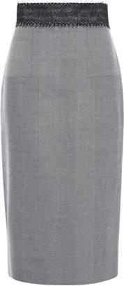 Amanda Wakeley Lace-trimmed Herringbone Wool Pencil Skirt