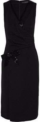 Carolina Herrera Wrap-effect Bead-embellished Silk-crepe Dress