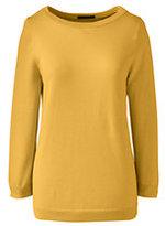 Classic Women's Tall Supima 3/4 Sleeve Sweater-Aqua Lagoon Stripe