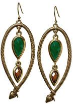 Lucky Brand Green Stone and Snake Wrap Earring