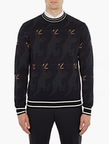 Paul Smith Navy Dinosaur Motif Sweater