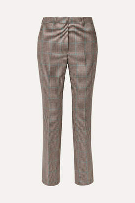 Off-White Off White Houndstooth Wool Slim-leg Pants - Brown