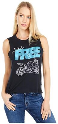 Chaser Live Free Gauzy Cotton Muscle Tank (True Black) Women's Sleeveless