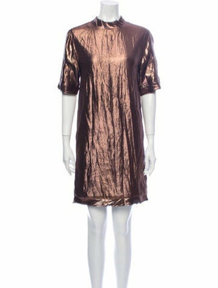Lanvin Mock Neck Mini Dress Gold