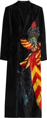 Yohji Yamamoto Crushed Velvet Knight Pattern Coat