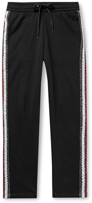 Burberry Slim-Fit Logo-Print Striped Loopback Cotton-Jersey Sweatpants