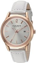 Akribos XXIV Women's Quartz Rose-Tone Case with Rose-Tone Accented Silver Sunray Dial on White Glove Style Genuine Leather Strap Watch AK921WT