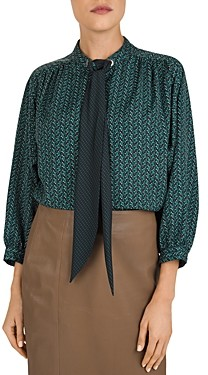 Gerard Darel Mathilda Heart Print Tie Detail Blouse